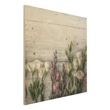 Quadro in legno - Tulip Pink Shabby wood optic - Quadrato 1:1