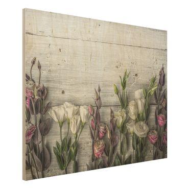 Quadro in legno - Tulip Pink Shabby wood optic - Orizzontale 4:3