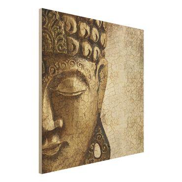 Quadro in legno - Vintage Buddha - Quadrato 1:1