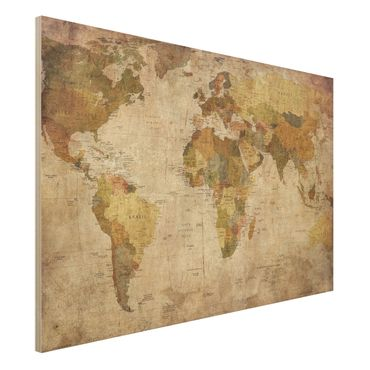 Quadro in legno - World Map - Orizzontale 3:2