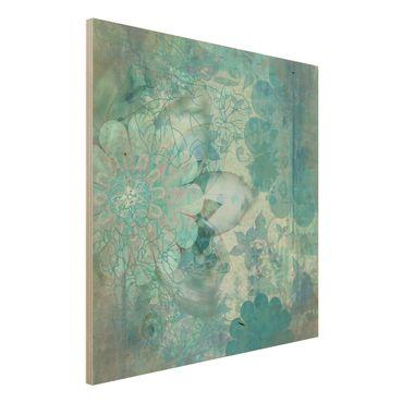 Quadro in legno - Winter Flowers - Quadrato 1:1