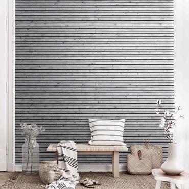 Carta da parati metallizzata - Muro di legno con piccole stecche bianco e nero