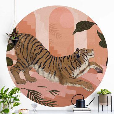 Carta da parati rotonda autoadesiva - Laura Graves - Illustrazione Tiger in pittura rosa pastello