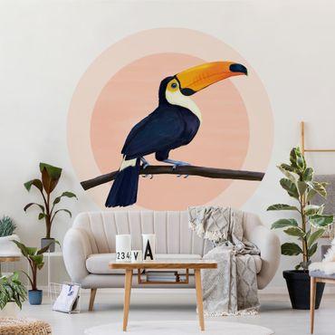 Carta da parati rotonda autoadesiva - Laura Graves - Illustrazione tucano uccello pastello pittura