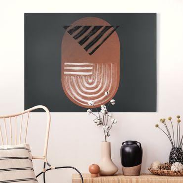 Quadro su tela - Geometria di argilla indigena su grigio scuro