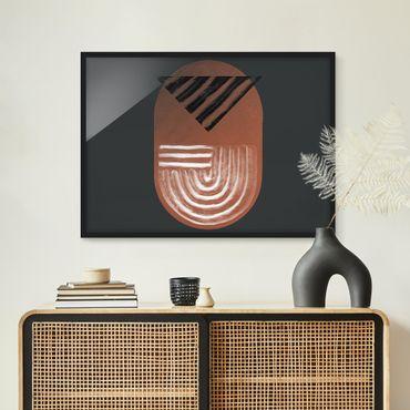 Poster con cornice - Geometria di argilla indigena su grigio scuro