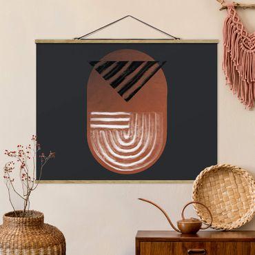 Foto su tessuto da parete con bastone - Geometria di argilla indigena su grigio scuro - Orizzontale 4:3