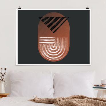 Poster - Geometria di argilla indigena su grigio scuro