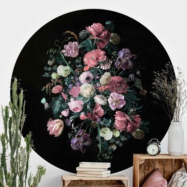 Carta da parati rotonda autoadesiva - Jan Davidsz de Heem - Bouquet di fiori scuro