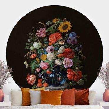Carta da parati rotonda autoadesiva - Jan Davidsz de Heem - vaso di vetro con i fiori