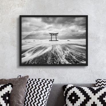 Poster con cornice - Torii giapponesi in mare