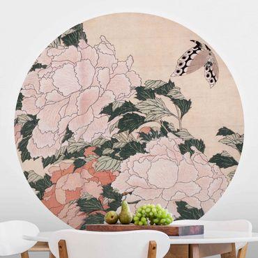 Carta da parati rotonda autoadesiva - Peonie rosa con la farfalla - Katsushika Hokusai
