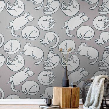Carta da parati metallizzata - Disegno di gatto in grigio