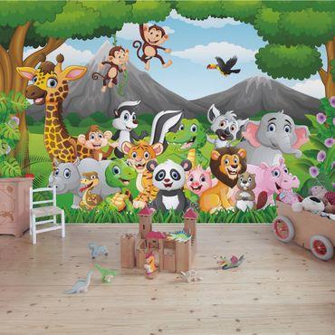 Carta da parati - Animaletti della giungla per camerette