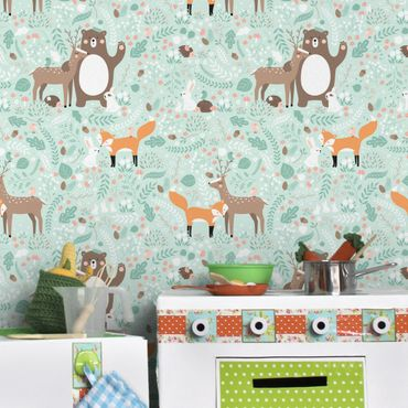 Carta da parati - Children Pattern Forest Friends with forest animals