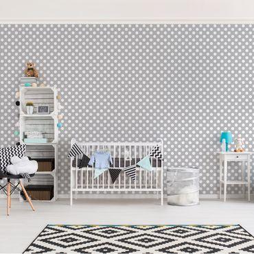 Carta da parati - Dots white on grey