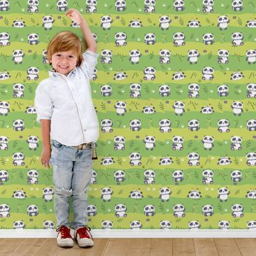Carta da parati - Cute Panda Wallpaper Green