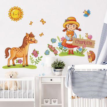 Adesivo murale per bambini - Contadina - Con testo personalizzato