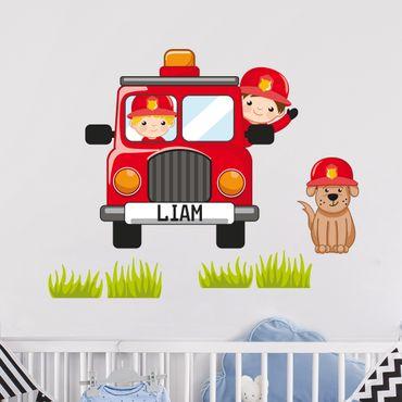 Adesivo murale per bambini - Set di pompieri - Con nome personalizzato