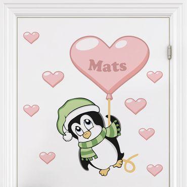 Adesivo murale per bambini - Pinguino per bimbo - Con testo personalizzato
