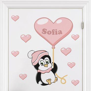 Adesivo murale per bambini - Pinguino per bima - Con testo personalizzato