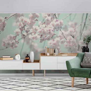 Carta da parati metallizzata - Danza di fiori di ciliegio su struttura di lino