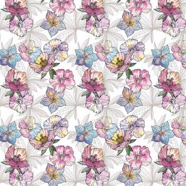 Pellicola adesiva - Watercolor floral pattern pastel colors