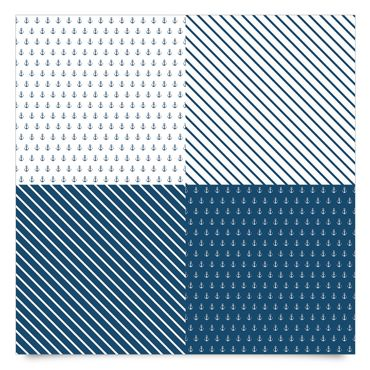 Pellicola adesiva - Maritimes anchor and stripes tile set