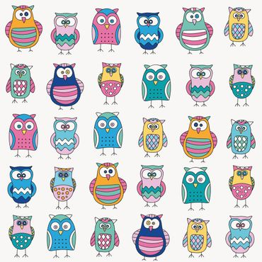 Pellicola adesiva - Owls in various pastel shades