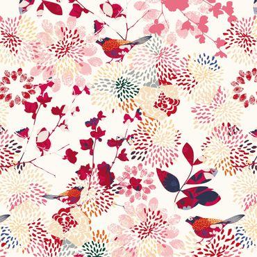 Pellicola adesiva - Fancy Birds - Floral pattern with birds