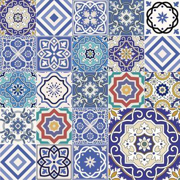 Pellicola adesiva - Piastrelle mosaici portoghesi blu
