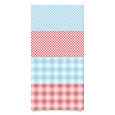 Pellicola adesiva - Diamond pattern with stripes in pastel blue and vermilion decorative