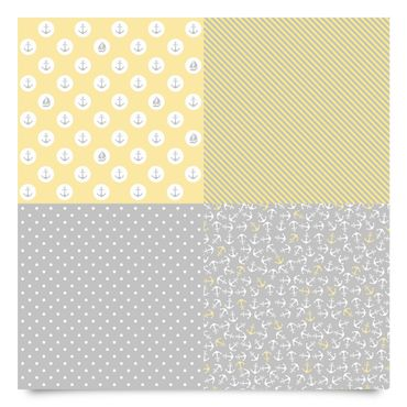 Pellicola adesiva - Maritimes pattern set with anchors, stripes and dots