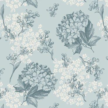 Pellicola adesiva - Hortensia Vintage Kitchen floral pattern