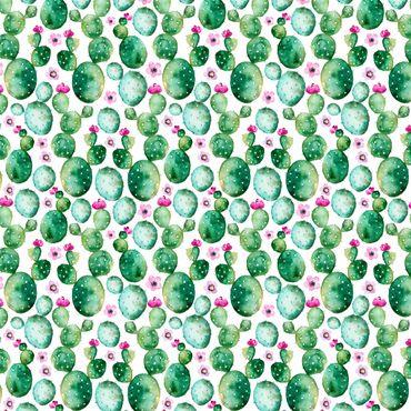 Pellicola adesiva - Cactus With Flowers Watercolor