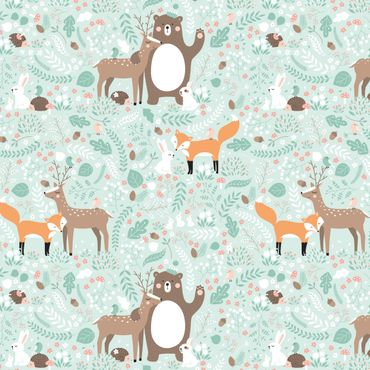 Pellicola adesiva - Kids pattern Forest Friends with forest animals