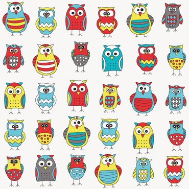 Pellicola adesiva - Kids pattern with various owls