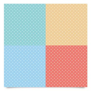 Pellicola adesiva - 4 pastel colours with white dots - Turquoise blue yellow red