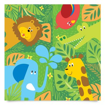 Pellicola adesiva - Sweet zoo animals set - Elephant lion giraffe crocodile