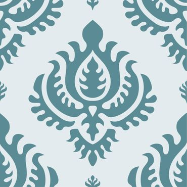 Pellicola adesiva - Compact concise damask pattern bright turquoise petrol