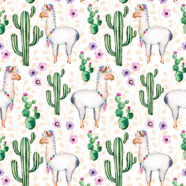 Pellicola adesiva - Lama And Cacti Watercolor