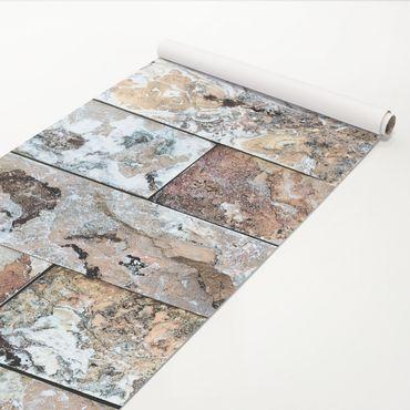Pellicola adesiva - Natural marble stone wall