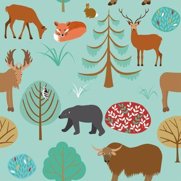 Pellicola adesiva - Modern children pattern with forest animals