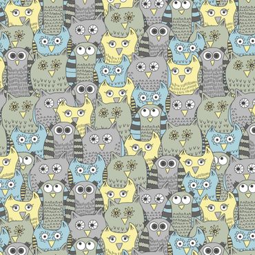 Pellicola adesiva - Pattern with funny owls blue