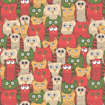 Pellicola adesiva - Pattern with funny owls red