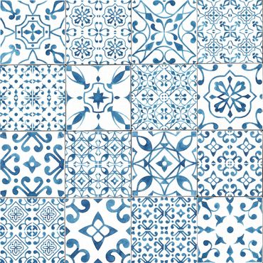 Pellicola adesiva - Pattern Tiles Blue White