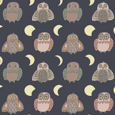 Pellicola adesiva - Night Owl pattern with moon phases