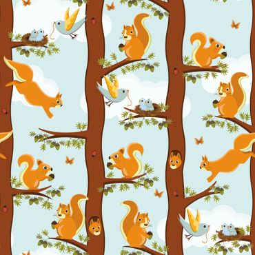 Pellicola adesiva - Cute kids pattern with squirrels and baby birds