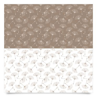 Pellicola adesiva - Dandelion pattern in mocha and polar white
