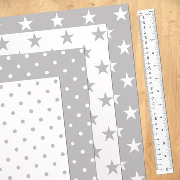 Pellicola adesiva - Grey white stars and dots in 4 variations